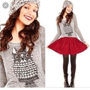 Bethany Mota gray salt and pepper Owl Sweater S